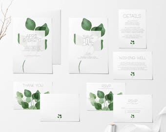 Printable Wedding Invitation Set, Green Wedding Invitation Set, Wedding Invitations, Save The Date, RSVP, Wishing Well, Thank You