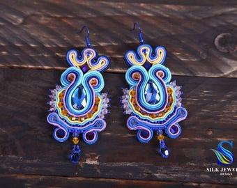 Soutache Earrings Bali - Soutache embroidery - Crystal Swarovski