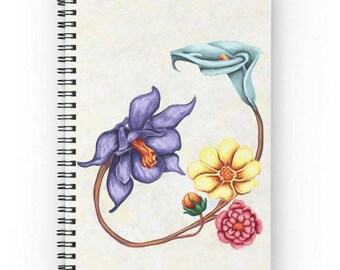 Painting floral zentangle sketch journal - spiral notebook digital flowers bright colors on white background - art print