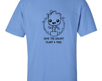 Groot Save The Galaxy Plant A Tree Marvel Comics Superheroes Guardians of the Galaxy Adult Unisex Tshirt