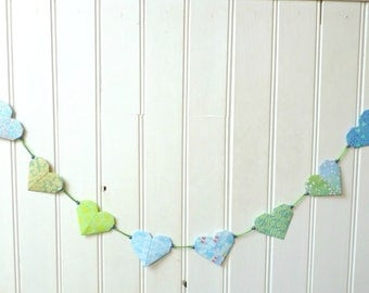 "Origami Garland - colorful hearts with dominant blue and green - collection ""Stop your Pétilles!"""