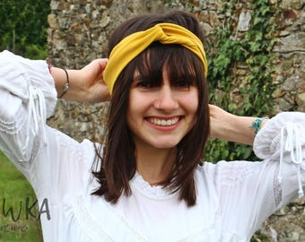 Headband twisted yellow jersey