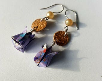 Origami lotus earrings