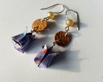 Origami lotus earrings