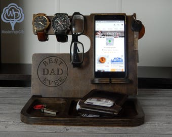 Wood docking station Docking stand Iphone Charging station Fathers day gift Valentines day gift Dad  Birthday Gifts Dad Gifts Gift for dad