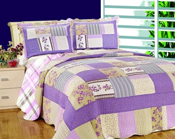 Queen Size Quilt Set, Modern Quilt, Purple Quilt Bedspread, Bed Cover, Quilted Bedding Blankets, Patchwork, Quilted Pillow Sham