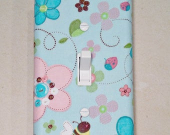 Garden Switch Plate, Light Switch Cover, Switch Plate, Switchplate, Flowers Bees Blue Pink Purple, Nursery Switch Plate, Baby Girl, Outlet