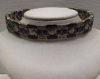 Vintage Estate Silver Vendome Art Deco Stone Link Bracelet Unique Statement Mosaic Abalone