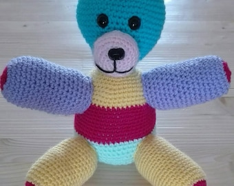 multicolored crochet wool bear