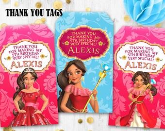 Elena of Avalor Thank you tags Gift tags Birthday tags Princess Elena tags Digital printable tags