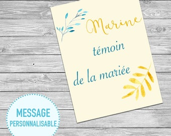 Card announcement maid of honor - customizable Message @1