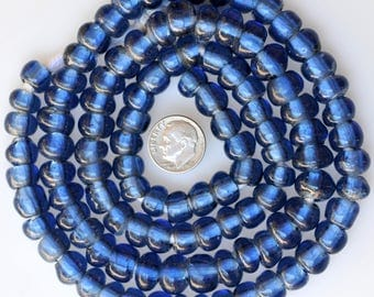 Long 32 Inch Strand of German Glass Beads in a Rare Shade of Blue - Vintage African Trade Beads - F3078