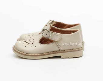 Ready to ship! 100% Genuine Leather  Shoes Sandals baby kids children s boy girl Beige T-bar   mary jane vintage style