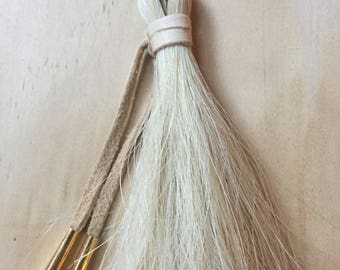 Horse hair necklace white large