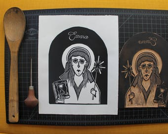 "Patron Sinner of Envy Madame Bovary 8""x10"" Linocut"