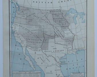 1888 Antique Civil War Map United States Antique Map Union Confederacy Colonial