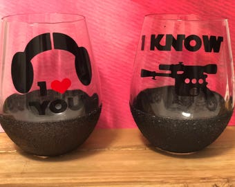 Star Wars - I love you - I know - wine glass setGlitter Dipped Wine Glass/Glitter Wine Glass/ Wine Glass/ Made to order/Customize