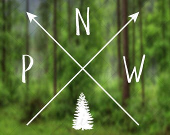 Simple Pacific Northwest Pride with crossing arrows evergreen tree - car, window, laptop, tablet decal - PNW love decal, PNW life decal