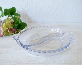 Imperial Candlewick glass divided relish dish Vintage Imperial Glass Company glassware