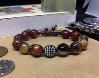 Picasso Stone Shamballa Bracelets - Men's Agate Shamballa Bracelet, Natural Stone, Tibetan Beaded Bracelet, Yoga Bracelets