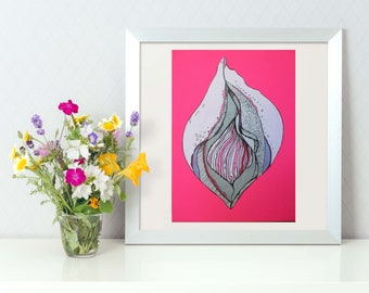 Vulva, Labia Flower, Vagina Art, Pussy Diversity, Original Painting, A5, Sex Positive Artwork, Feminist Art