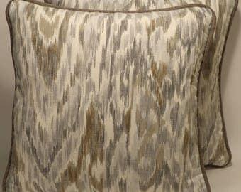 """Cream Throw Pillows,Gray Decorative Pillows,Ikat Throw Pillows,2 18"""" Ronnie Gold Cream  Gray Designer Throw Pillows & Forms,Home Decor,101"""