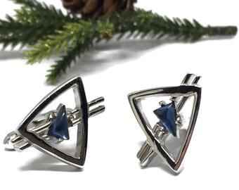 Swank Atomic Space Age Cufflinks with Sapphire Glass Rhinestone