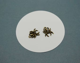 SET of 5 halloween spider charms bronze (R41)