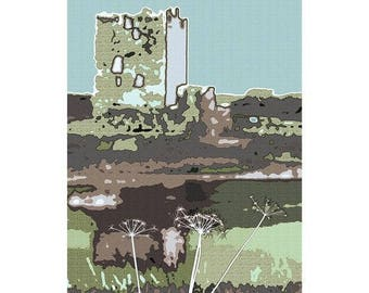 Threave Castle Abstract Photographic Print Blue