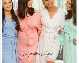 Bridesmaid Robe,  Knit Robes,lace Knit Robes, Getting Ready Robes, Bridesmaid Gifts