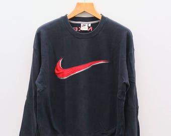 Vintage NIKE Big Logo Sportswear Black Sweater Sweatshirt Size L