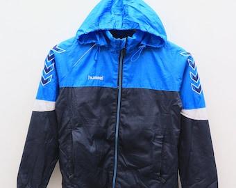 Vintage HUMMEL Outdoor Sportswear Blue Hoodies Windbreaker Size 4S