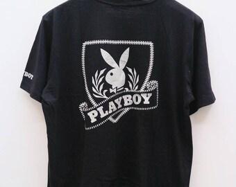 Vintage PLAYBOY Big Logo Black Tee T Shirt