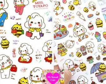 6 Sheets Cute Miss Toyapo Korean Cartoon Stickers ~ Kawaii Stickers, Sticker Set, Korean, Stationery, Scrapbooking, DIY, Decorative Decal