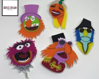 Laser cut Acrylic Muppet Brooches - Plastic accessories - The Muppets - Electric Mayhem - Animal Pin