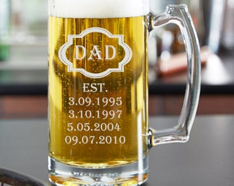 Dad Beer Glass, Etched Dad Beer Glass, Dad Gift, Fathers Day Gift, Gift for Fathers Day, Beer Glass, Dad, Fathers Day,Dad Birthday