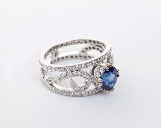 Platinum Sapphire & Diamond Ring   Engagement Ring   Wedding Ring   Statement Ring   Handmade Fine Jewelry   One-of-a-kind Ring