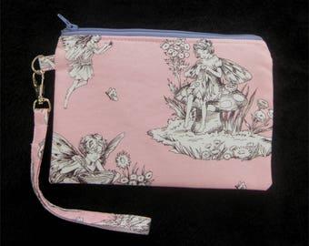 Fairy Wristlet Purse - Wristlet Clutch - Wristlet Pouch - Pink Clutch - Wristlet Wallet - Clutch Purse - Vegan Bag - Zipper Purse - Clutch
