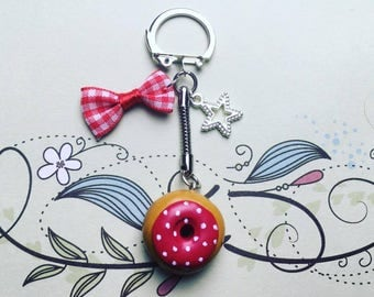 Red with white dot - polymer clay Donut keychain