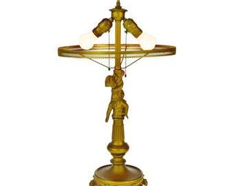 Vintage Hollywood Regency Cast Metal Figural Cherub Table Lamp