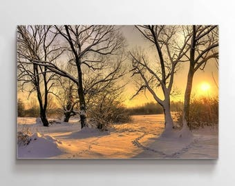 Large WAll Art Forest in Winter and Footprints on Snow Canvas Print