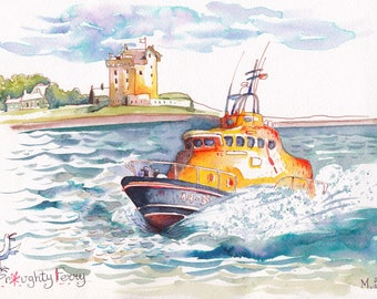 Castle & lifeboat Broughty Ferry , Scotland.