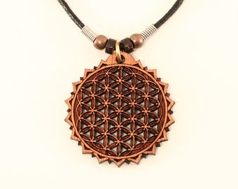 Flower of Life Necklace - Wood Flower of Life Pendant - Sacred Geometry