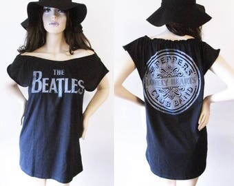 Beatles ruffle Off the Shoulder Top or dress S-XL