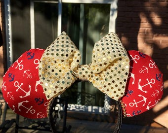 Nautical inspired mouse ears