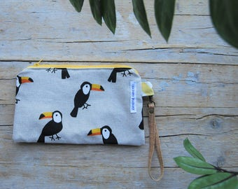 pouch/case with wrist strap, two toucans