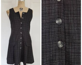 Vintage 90s charcoal grey tweed school girl dress with pleats, sleeveless short dress, grey and white day dress, size small