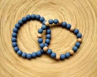 BPA free silicone/wooden bracelet, teething bracelet, babyproof bracelet