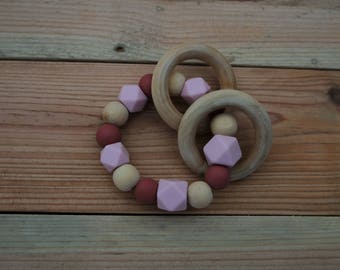 BPA free teether rattle, teething ring, chewable rattle, pink rattle, baby gift