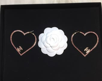 Gorgeous chanel Inspired shiny large heart earrings